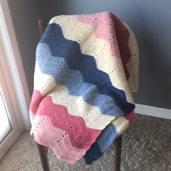 58 inches x 78 inches Large Crochet Afghan Pastel